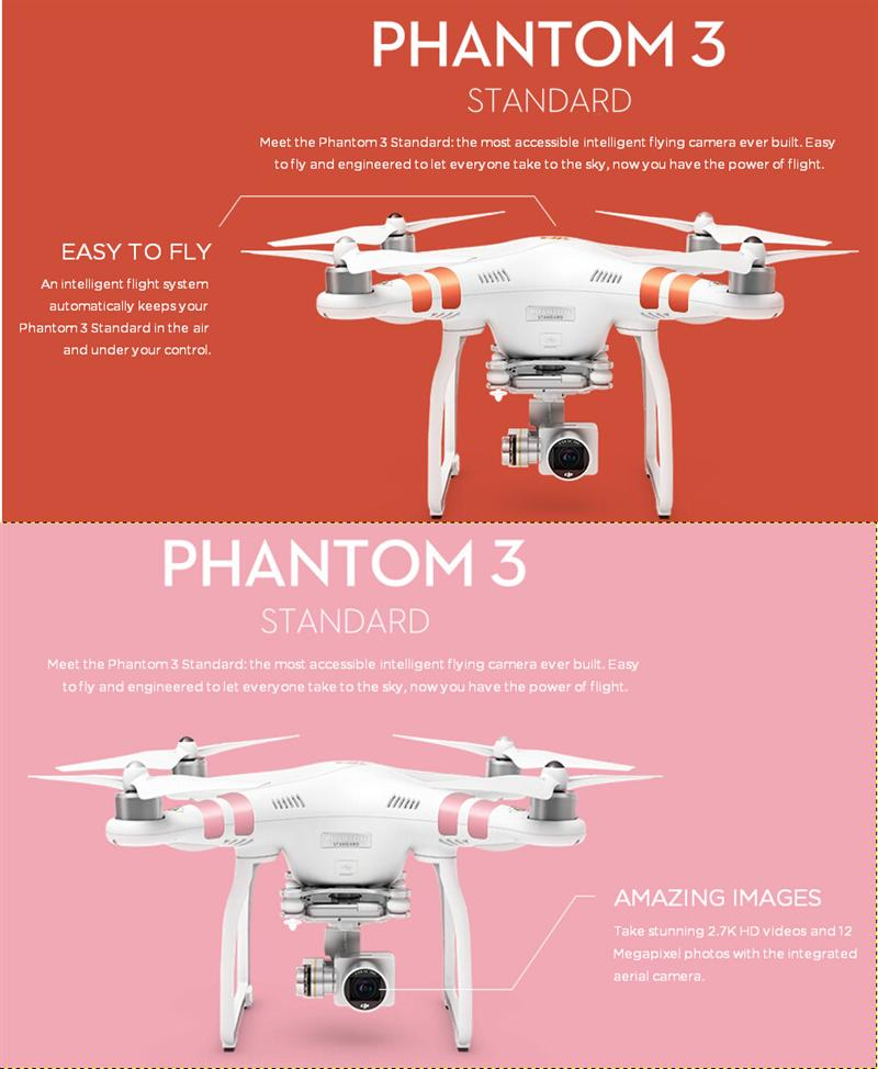 Original DJI Phantom 3 Standard GPS FPV With 3 Axis Gimbal 2.7K HD Camera RC Quadcopter RTF With Remote Control
