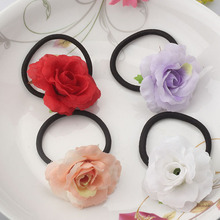 2016 Wholesale Floral Hair Accessories Flower Fabric Hair Tie Gum For Party Girls Headwear Flocking Elastic Hair Band Headdress