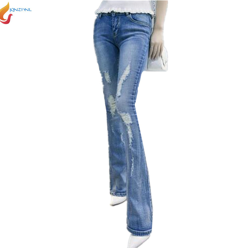 Korea Latest Fashion Women Spring Autumn 2016 Bootleg jeans Ladies Sexy Slim Leisure Big yards Light color Pants G1386