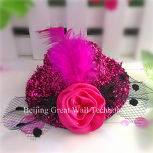 New Christmas Gift Fashion Mini Hats Clip For Party Shiny Cap Clip Size 8cm Girls 8-16 Yeas Old Hair Accessories Girls Hair Clip(China)