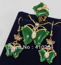 free shipping $wholesale_jewelry_wig$ Shipping Set Pretty GP butterfly green pendant Necklace earrings ring(China)