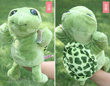Story toy 1pc 30cm cartoon stereo big eye tortoise turtle hand puppets plush sleeping pacify educational kids infant gift(China)