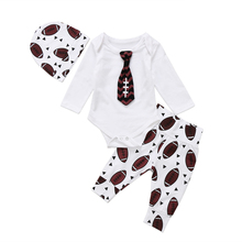 3pcs Baby Set Clothing Newborn Baby Boy Rugby Tie Romper Bodysuit + Pants Leggings Outfit Set Clothes(China)