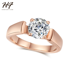 Round Cut Cubic Zirconia Engagement Rings 4 Prongs Rose Gold Color Crystal Fashion Wedding Jewelry For Man and Women Anel R054