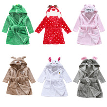 Christmas Winter Toddler Baby Hooded Bathrobes Towels Children Boys Girls Lovely Animal Cartoon Pattern Nightgown Kids Clothings