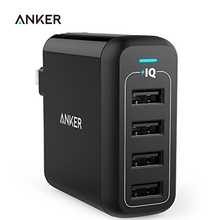 Anker 40W 4-Port USB Wall Charger, PowerPort 4 for iPhone 7 / 6s / Plus iPad Pro / Air 2 / mini Galaxy S7 / S6 / Edge / Plus etc(China)