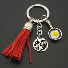 1PC Red Tassel pendant Super Mom key chains mother'day Key Ring Fit Key Car DIY Handbag Gift Jewelry(China)