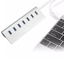 High Speed 7 Port USB 3.0 HUB Aluminum Silver HUB USB Splitter Adapter with 30cm Bold Cable for Macbook PC Tablet multi usb port