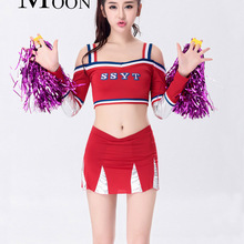 7c455fec1f3841 MOONIGHT New Baby Uniform Clothing And Suit Cheerleader Costume Top+Skirt  Blue And Red Style