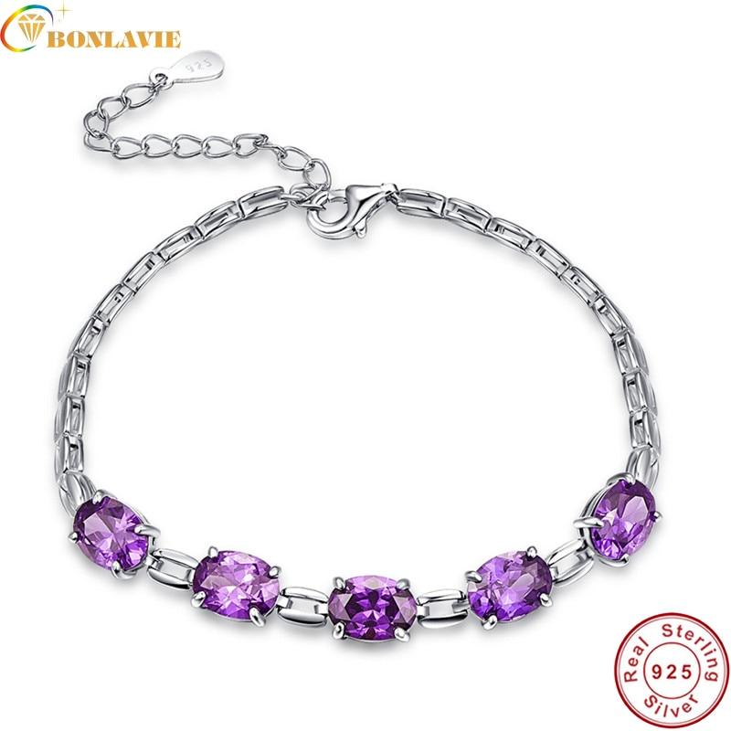 925 Silver Open Heart Bracelet Womens Ladies Fashion Charm Jewellery Amethyst LE