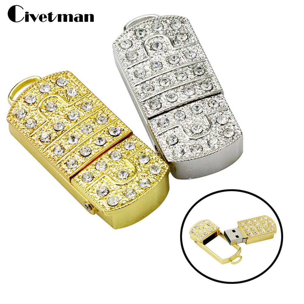 Full Capacity pendrive usb flash drive Prince Charming crystal necklace 8gb 16gb 32gb 64GB pen drives jewelry usb flash memory(China)