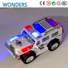 New arrival, Omni-directional wheel Glowing Flashing Musical car Electric police truck Automatic Steering Children Toys(China)