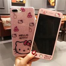Buy iPhone 8 8Plus Kitty Case + Tempered Glass Screen film, Cartoon bling Hello Kitty TPU Cover iPhone 6 6S 6SPlus 7 7plus for $8.45 in AliExpress store