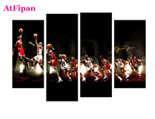 AtFipanUnframed Star Michael Jordan Painting Canvas Wall Spray Painting Modern Decorative Canvas Art Work Prints On Home Posters(China)