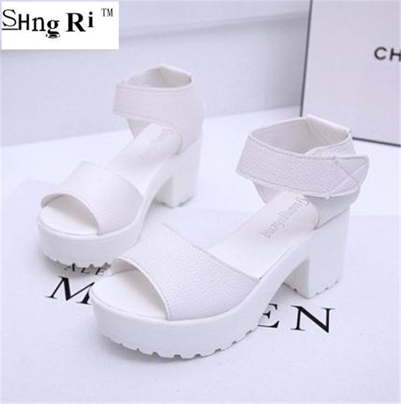 Thick heel platform open toe sandals female summer 2016 womens shoes platform shoes white<br><br>Aliexpress