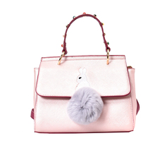 Sweet Cute Women Pink Tote Bags Rivet Handbag Embroidery Rabbit Small Square Bag Shoulder Messenger Bag with Hairball Sac A Main