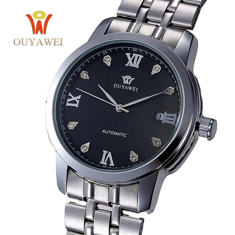 2017 New Fashion Men Male OUYAWEI Brand Mechanical Watch Steel Automatic Stylish Classic Skeleton Steampunk Wristwatch BEST Gift<br><br>Aliexpress