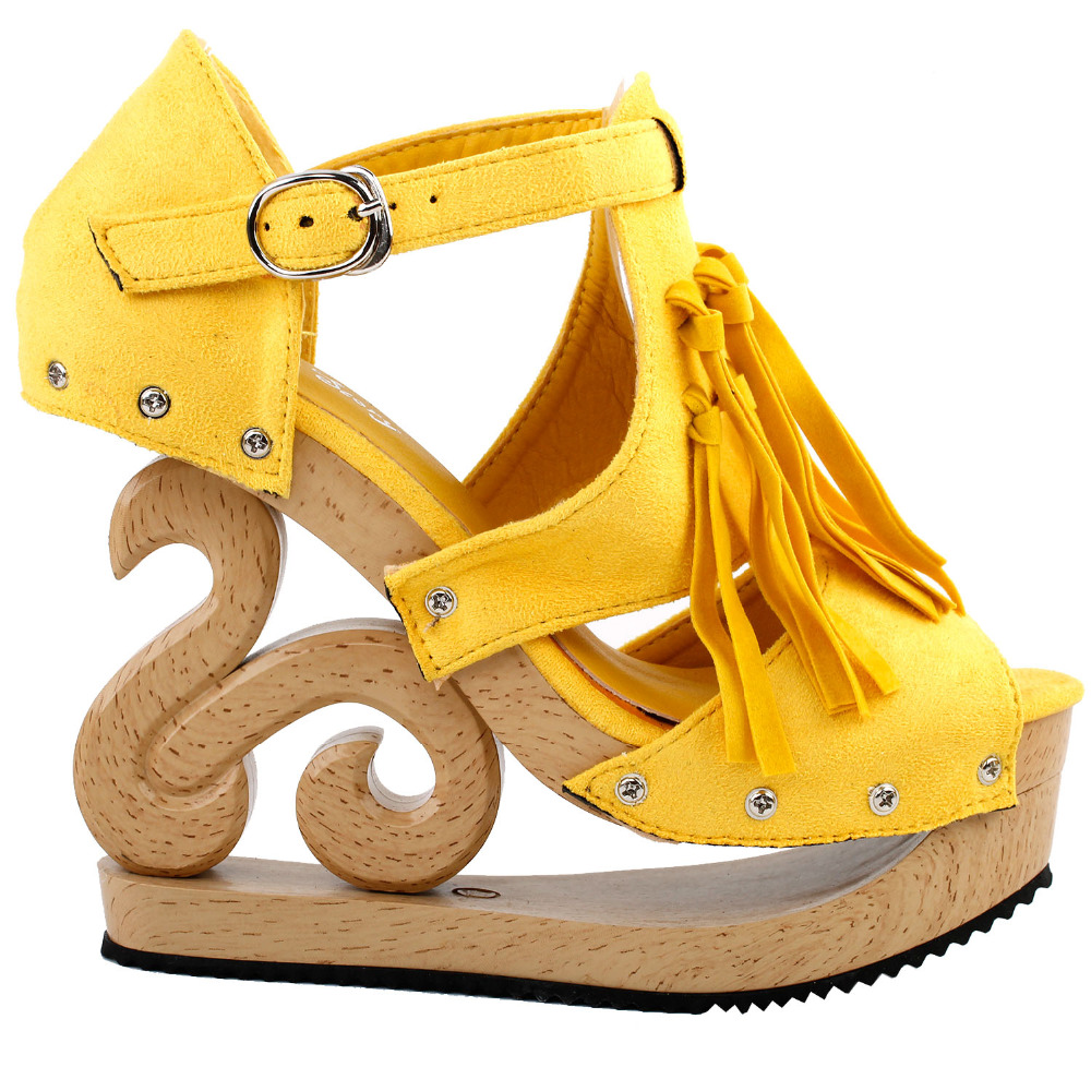 LF30837 Yellow Gladiator Western Fringe Tassel Cut Out Stud Wooden Wedge Clogs Sandals<br>