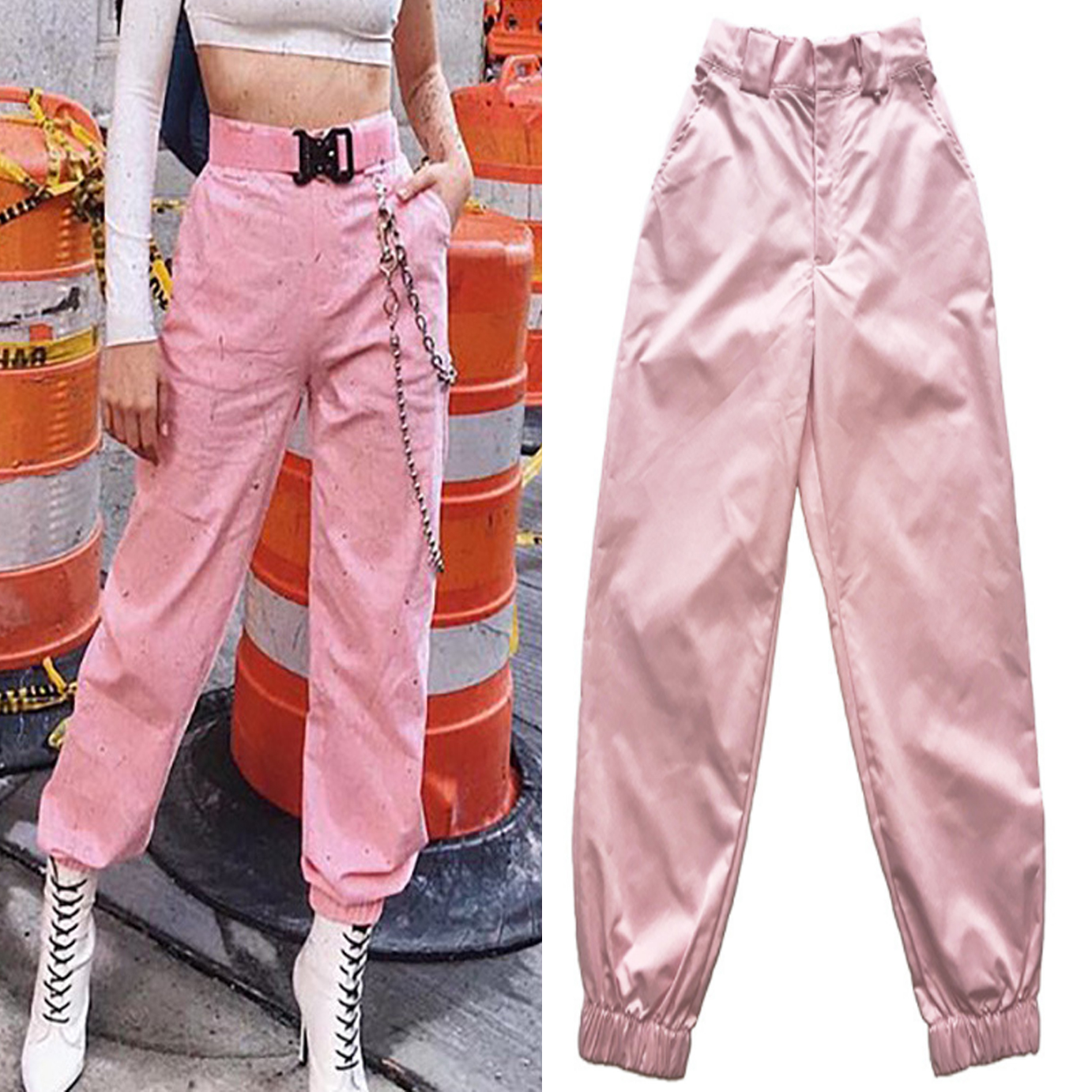 Streetwear Vintage Pink High Waist Metal Chain Cargo Straight Jogger Women Pant Harem Hiphop Harajuku Korean Casual Sweatpant