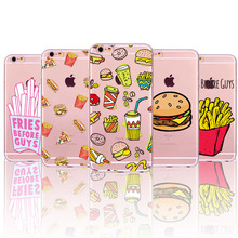 French Fries Hamburgers Burgers Potato Chips Soft TPU Back Cases Cover For Apple iphone 5 5s SE 6 6s Phone Cases