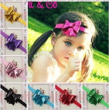 2.5 Inch Cute Elastic Bow Shining Butterfly Hair Sequin Bow Baby  Kids Head Hair Acessories For Girls KXBBC035