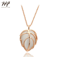 Rose Gold Color Imitation Opal Stone Leaf shape Pendant Gift Necklace GP Link Chain Necklace and Pendant N274