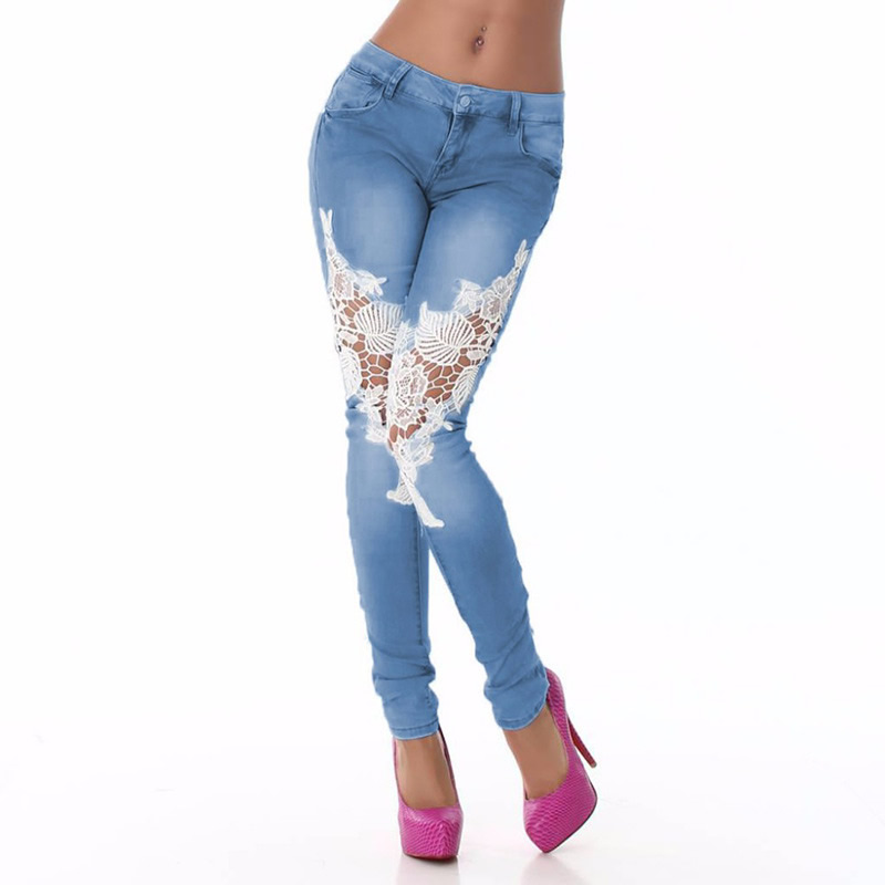 2017 New Fashion Jeans Women Pencil Pants High Waist Sexy Skinny Pants Trousers Fit Lady denim pants hollow  Lace patchwork blueОдежда и ак�е��уары<br><br><br>Aliexpress