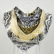 New Design 90*90cm Gold Black 100% Mulberry Silk Female Square Silk Scarf Printed,Fashion 100% Silk Crepe Satin Women Scarves(China)
