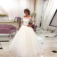 Vintage Ball Vestido De Noivas 3/4 Sleeves Tulle Wedding Dresses 2017 Jewels Belt Appliques Lace Bridal Gowns Vestido de noiva