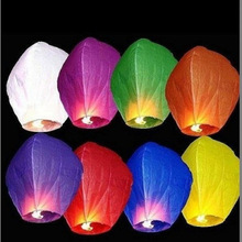 10pcs/lot Multi-color Beautiful Hot Air Balloon Chinese Sky Lantern Wishing Lampion For Wedding Party Outdoor Activity White Red(China)