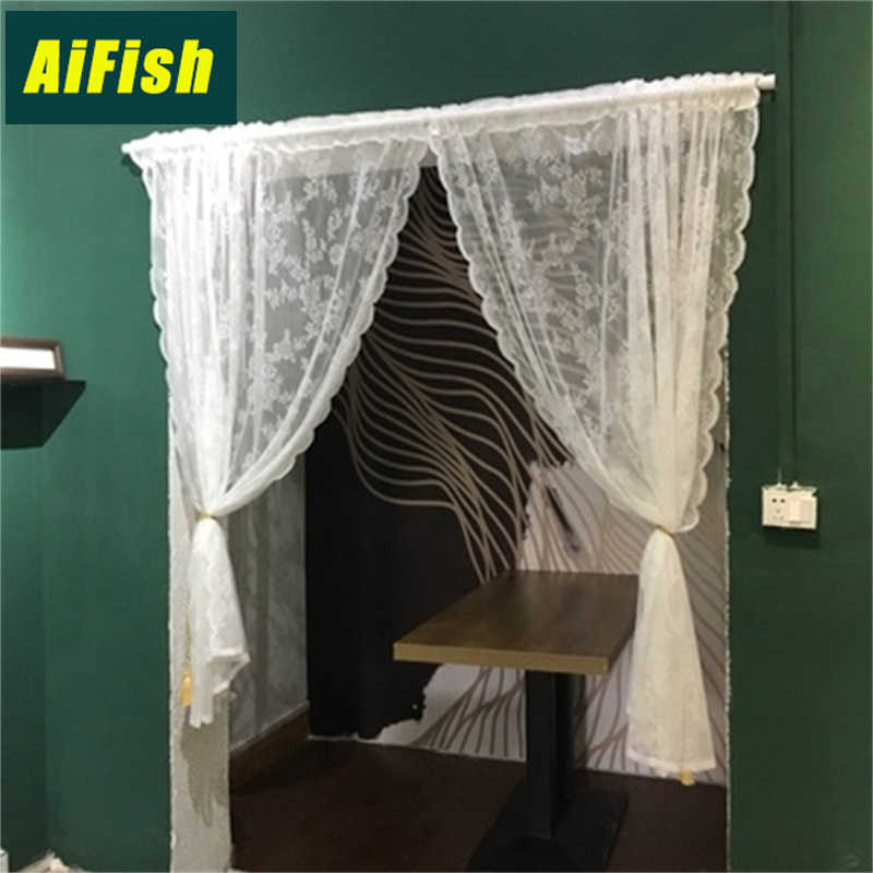 Lace Curtains Voile Tulle Curtains Roman Short Curtain Panel Leaf Door Window Sheer Curtain for Living Room Tablecloth N2&4
