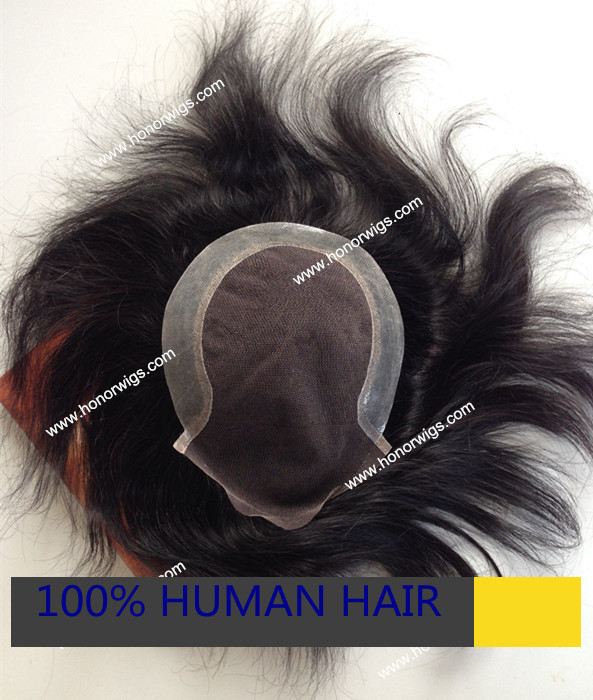 Customize dark black color french swiss lace thin skin around human peruvian hair toupee for mens touper HT208<br><br>Aliexpress
