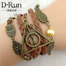3pcs Harry Potter and the Deathly Hallows wings hand woven leather rope bracelet aliexpress goods