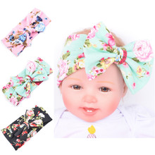 Infant Headband for Girls Soft Cotton bohemia Floral prints Elastic Lace Big Hair Bowtie Girls Hair Acessories Bow headwrap Kids