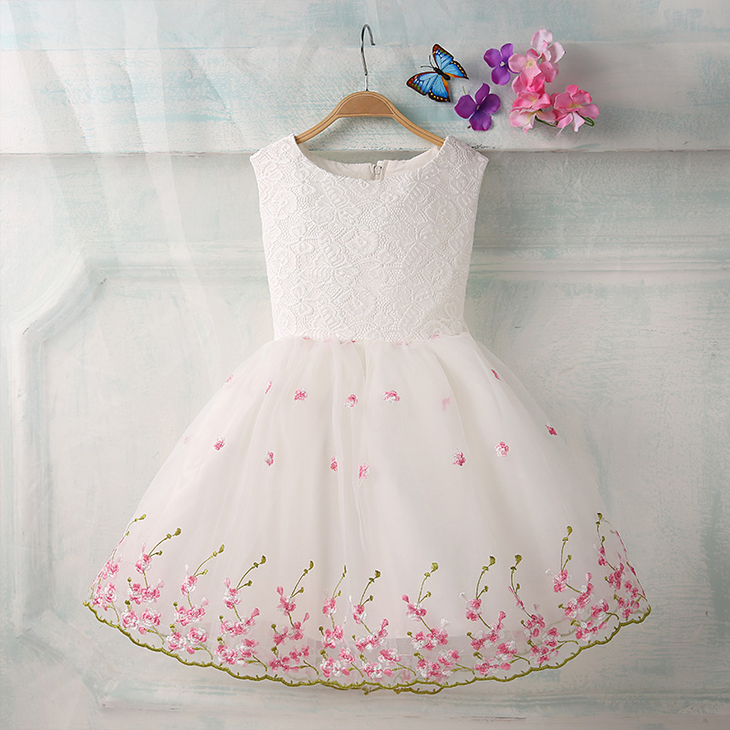 Summer princess dress sleeveless knee-length embroidery flower girl dresses big bow ball gown girls pageant dress for weddings<br>