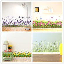 [SHIJUEHEZI] Baseboard Sticker Vinyl DIY Interior Design Flower Wall Decals for Kids Room Living Room Wall Corner Decoration(China)