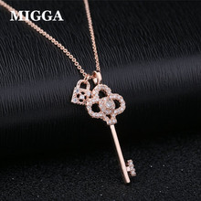 MIGGA CZ Crystals Lock Key Pendant Necklace for Women Cubic Zirconia Necklace High Quality Jewelry(China)