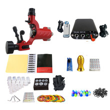 2017 Pro Complete Tattoo Machine Kit Set 1Pcs Rotary Tattoo Machine Gun Power Supply  Needles Grips Tips Footswitch For Body Art