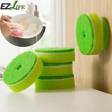 5pcs Kitchen Sponge Scouring Pad Double Face Kitchen Cleaning Washing Dish Dishwasher Towel Pad + 1pc Chuck Vacuum QSK1895 #1019(China)