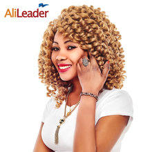 AliLeader Blonde Brown Black Red Crochet Twist Hair Jumpy Wand Curl, Freetress Afro Braiding Hair 10Pcs/Lot Synthetic Braids