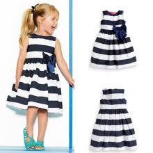 Summer Baby Kid Girls Sleeveless Dress Blue Striped Bowknot Tutu Dresses robe fille enfant