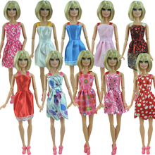 Discount promotion 5 Pcs a set Mix Sorts Newest Beautiful Handmade Party Clothes Fashion Dress For Barbie Doll Best Gift Toys