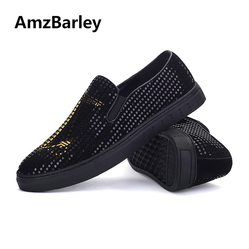 AmzBarley Men Shoes Loafers Flats Slip On Casual Bling Leather Boat Souliers Zapatillas Moccasins High Quality 2018 Spring<br>