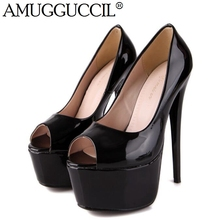 2017 New Black Apricot Blue Dark-Blue Fashion Sexy Wedding Party High Heel 15CM Platform Spring Lady Shoes Women Pumps D312