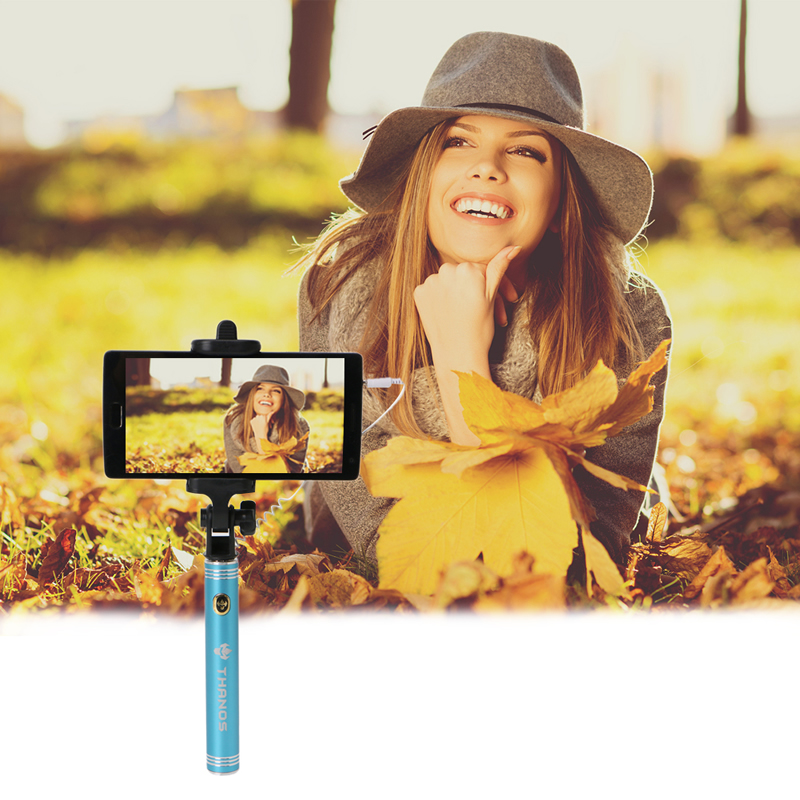 OOTDTY Mini Folding Wired Self Timer Stick Extendable Handheld Selfie Stick For Phone