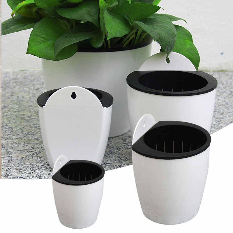 Self-Watering Flower Plant Pot Flowerpot Planter Wall Hanging White//Green//Coffee