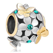 Fit Pandora charm bracelets Silver 22k Gold Green Flower Golden Butterfly Charm Bracelet beads for jewelry making(China)