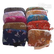 Silk brocade Cotton filled Jewelry Gift Pouch Cheap Small Zipper Tassel Portable Camera Bag Bracelet Necklace Packaging Bag(China)