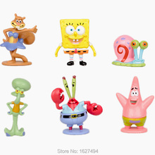 6pcs/set Sponge Bob Spongebob Miniatures PVC Action Figures Sandy Patrick Star Anime Figurines Collectibles Dolls Kids Toys Gift