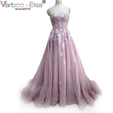 VARBOO_ELSA 2017 lavender Evening Dresses A Line Dubai sweetheart Ruffle Dress Special occasion dress arab Formal Dress wedding(China)